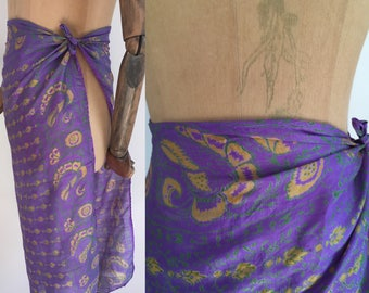Vintage 70's Block floral & leaf print indian large silk scarf/70' s hand woven Indian silk scarf
