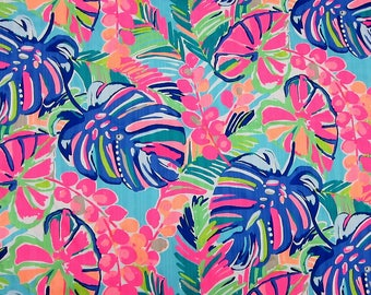 "18"" x 18"" Lilly Pulitzer Dobby Cotton Fabric Multi Exotic Garden"