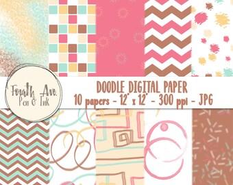 Doodle Digital Paper, Doodle Scrapbook Paper, Doodle, Pastel, Artsy, Digital Paper Pack, Digital Scrapbook, Digital Collage