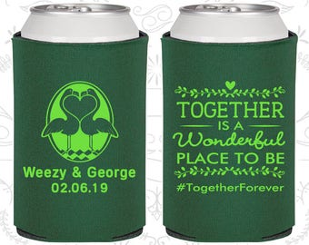 Together is a Wonderful Place to Be, Wedding, Romantic Wedding Favors, Rehearsal Dinner Favors, Can Coolers (C488)