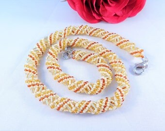 Bead Rope Jewelry Yellow Necklace, Summer Necklace, Elegant Beadwork Office Necklace with Bugle Beads, Friendship Gift for Her