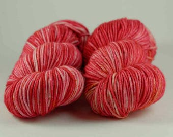 Hand Dyed Yarn - MCN Worsted- 'Poppy' - 200 yards - 80/10/10 Superwash Merino/Cashmere/Nylon