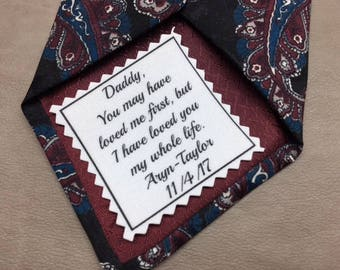 SKINNY TIE Patch - Father of the Bride - Iron On or Sew On -  2 x 2 Printed Tie Patch, You May Have Loved Me First, Tie Patch for Dad