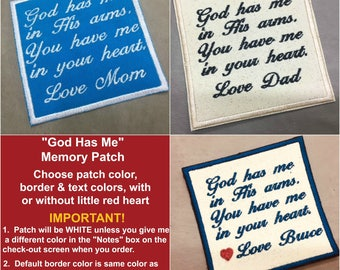 SEW or IRON ON Memory Pillow Patch - 2 Sizes, Valentina Font, God Has Me Memory Patch, Memory Patch,15 Patch Colors to Choose From