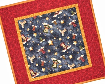 "Christmas Quilted Candle Mat, Holiday Table Mat, Folk Art Primitive Angels Table Topper, Red Blue Gold Candle Mat, 15""x15"", Quiltsy Handmade"