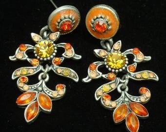 Orange Rhinestones Drop Earrings Posts