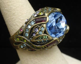Heidi Daus Statement Ring Large Blue Stone Size 7 1/2