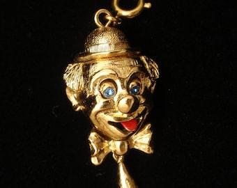 Clown Face Charm Red Enamel Tongue