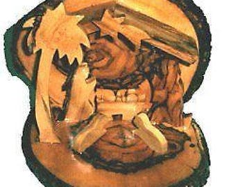 Wood Nativity Ornament With Bark