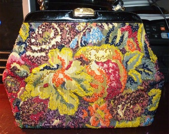 """Vintage Beaded Handbag 20th Century Colorful Intricate Beading into Canvas Sturdy Construction """"Used, but not used up"""" -- Willie Nelson"""