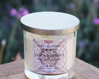 SANTA BARBARA Aloe Vera & Basil Soy Candle by Santa Barbara Aromatic | Toxin Free | Aromatherapy | Hostess Gift | Gift For Women |