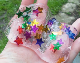 Rainbow Star Slime Clear slime confetti textured Sparkle galaxy Gem Glitter party favor birthday gift colorful multicolor