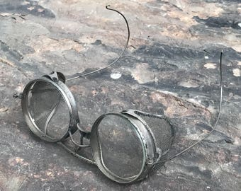antique safety goggles with mesh shield ~ motorcycle safety goggles~ Kings Safety Goggles~ steampunk glasses goggles~ antique safety glasses