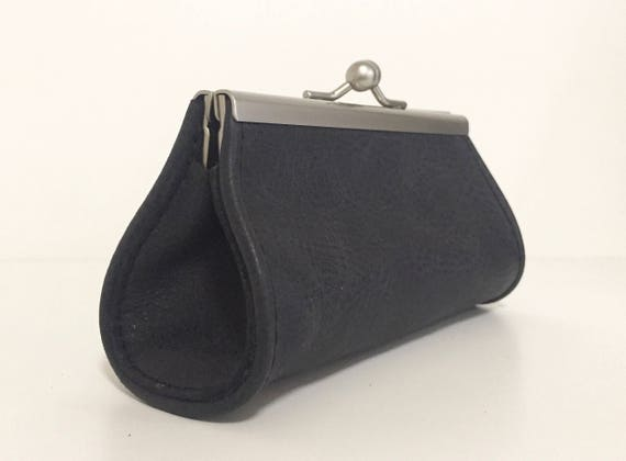 Purse , wallet leather ,  black leather wallet