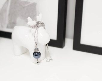 Boho necklace, Minimal necklace, Black necklace