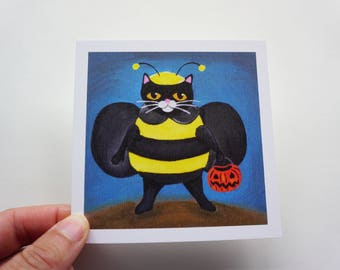"Black Cat Trick-or-Treating 4x4"" Print, Bumble Bee Halloween Black Cat Print by Amber Maki"