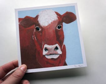 "Red Angus Cow Print, 5.5x5.5"" Angus Cattle Print by Amber Maki"