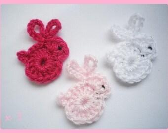 Lot 3 rabbits ✿•ڿڰۣ✿ applique crochet woolen ✿•ڿڰۣ✿