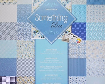 "Set of 12 leaves duplex 30, 5 x 30, 5 cm ""Something blue"" scrapbooking"