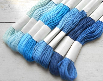 8 skeins of yarn has embroidery cotton 8 meters each shades of blue