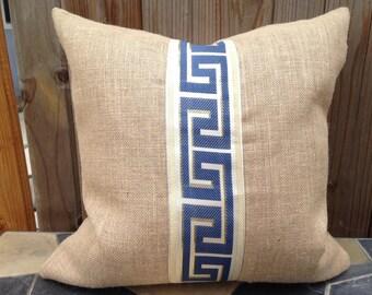 Navy Blue Greek Key Burlap Throw Pillow cover/Greek Key Pillow/Blue Pillow/Burlap pillow cover