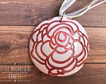 Rose Pendant Necklace, White and Red Rose, Gift for Her
