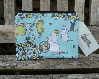 Moomin Makeup Bag Clutch Purse Moomins Cotton Fabric Cosmetic Pencil Case Padded Lined