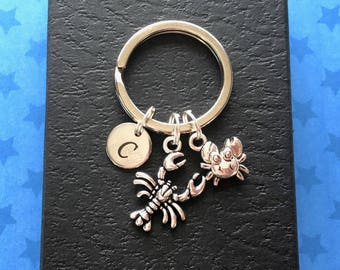 Personalised gift - Lobster keychain with tiny crab - Initial keyring - Lobster keyring - Seaside gift - Stocking stuffer - Stocking filler