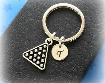 Initial keychain - Personalised pool player gift - Snooker keychain - Pool keyring - Stocking filler - Stocking stuffer - Etsy seller