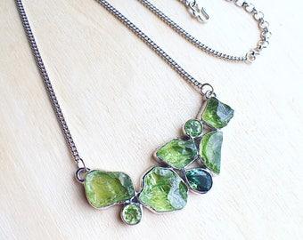 Raw peridot necklace, peridot necklace, rough peridot, peridot jewelry, peridot raw necklace, raw crystal jewelry, raw gemstone jewelry