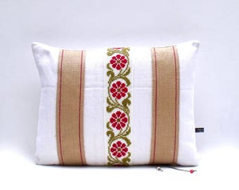 French Antique Linen Hand stitched Embroidery point de croix cross stitch Jute Braid Cushion Pillow Cover