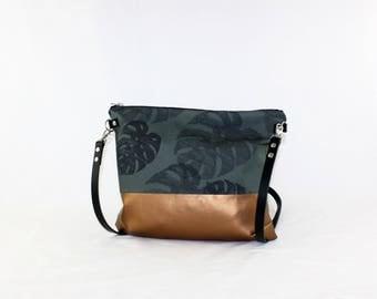 Monstera copper cross body bag with leather handle, ladies handbag, handbag, shoulder bag, Tote, ladies bag