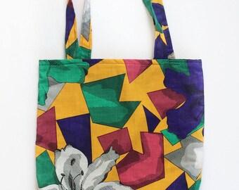 Geometric Tote Bag - Floral Tote Bag - Vintage Tote Bag - Cotton Tote Bag - Tote Bag - Project Bag - Geometric Bag - Up-cycled Bag - OOAK