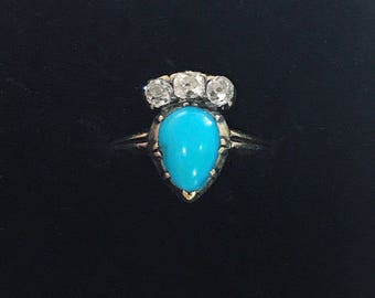Late Georgian Crowned Heart Ring with Turquoise and Diamonds