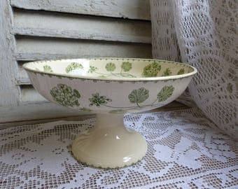 Antique french light green transferware large pedestal cake stand. Compote dish. Leaf green. Jeanne d'Arc living. Kitchen fruit bowl