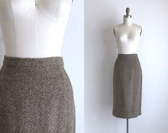 "SALE 40% OFF 1960s Skirt / Vintage 1960s Wool Skirt / Boucle Wool Pencil Skirt 29.5"" Waist"