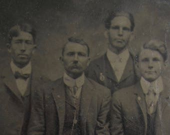 Brothers To The End - 1880's Wealthy Man And His Young Proteges Tintype Photograph - Free Shipping