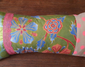 Pink and green RECTANGLE fabric PATCHWORK cushion