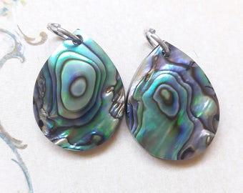 Small Paua Shell Teardrop Charm/Pendant Set Jewelry Making Supplies