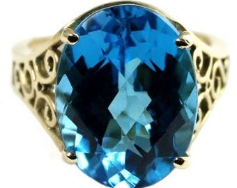 On Sale, 30% Off, Swiss Blue Topaz, 10KY Gold Ring R049