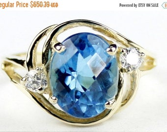 On Sale, 30% Off, Swiss Blue Topaz, 14KY Gold Ring R021