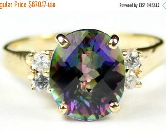 On Sale, 30% Off, Mystic Fire Topaz, 14KY Gold Ring, R244