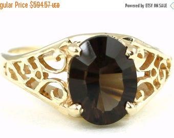 On Sale, 30% Off, Smoky Quartz, 18KY Gold Ring R005