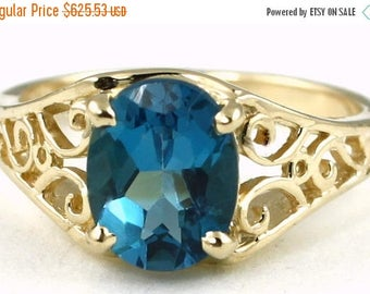 On Sale, 30% Off, London Blue Topaz, 18KY Gold Ring, R005