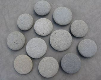 "14 Round Stones 3""- 3.25"" Painting Stones, Mandala, Large, Flat, Smooth, Beach Rocks, Wishing Stones, Wedding Decor,Unique"
