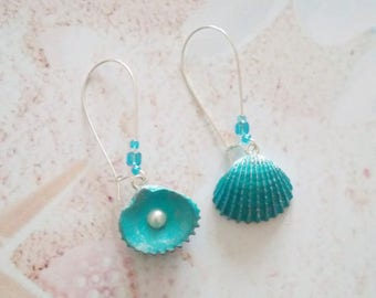 earrings mermaid shell and pearl polymer clay