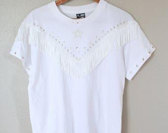 vintage silver embelished white western fringe  t shirt top