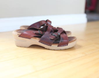 vintage dansko burgandy brown leather sandal wedge mules clogs 7 1/2