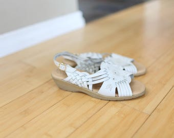 vintage woven white leather wedge granny hurache sandals womens 6 1/2