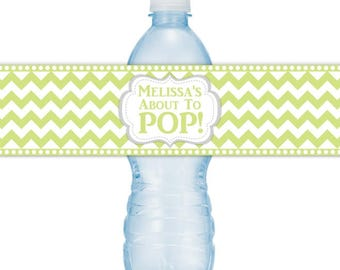 CUSTOM Baby Shower Water Bottle Labels, Printable Green Chevron About to Pop Water Bottle Stickers, DIY water bottle labels